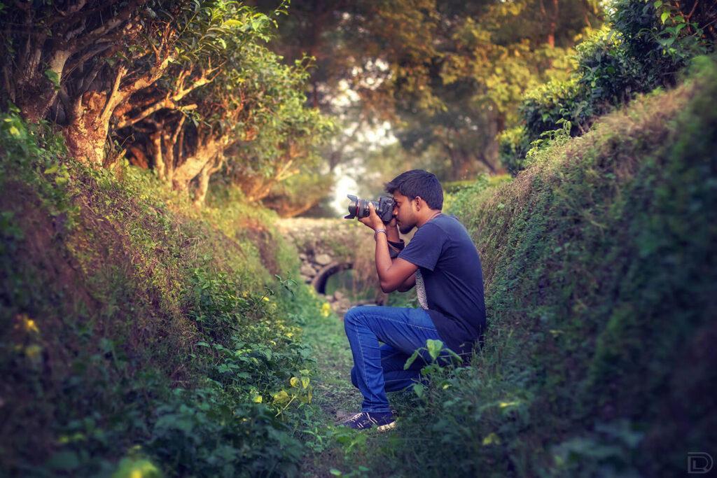 Self Portrait Photographer Tea Garden Sunset Camera